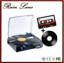 Rain Lane Hot sale 3 speed retro portable phonograph hifi lp turntables with cassette record player