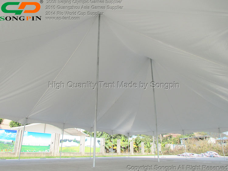 High peak pole tent with waterproof fabric and galvanized frame for sale