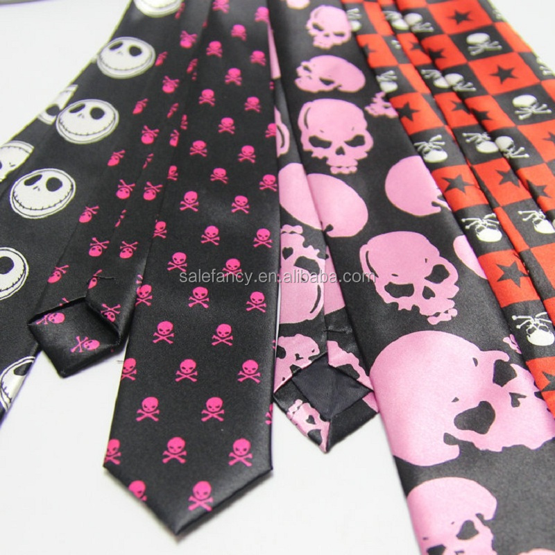 Wholesale Lovely Men silk tie Neck Ties 5cm Narrow Skull Printing Casual Skeleton head Collar wholesale neckties QFHD-8570
