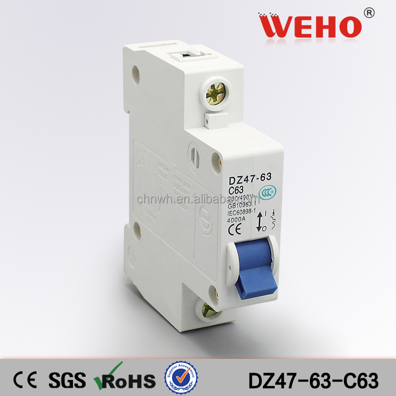1P 63A C type 240V/415V 50HZ/60HZ DZ47-63 Mini Circuit Breaker/MCCB