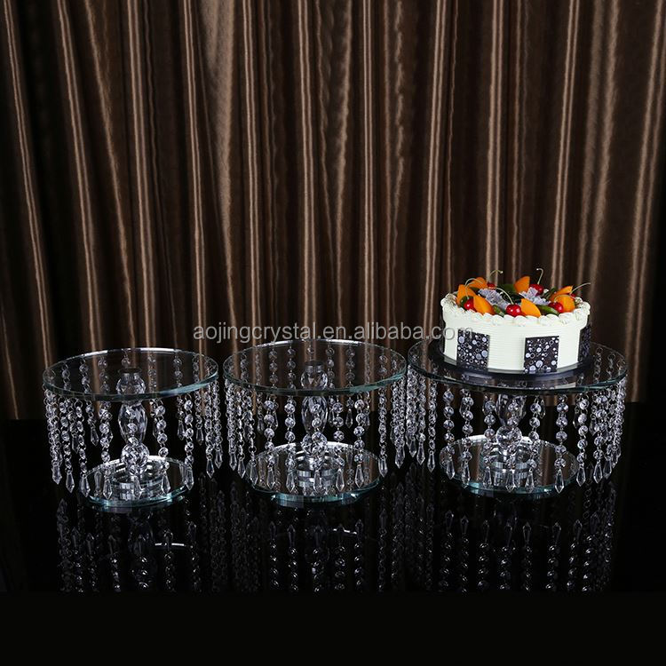 Most popular fashionable led light crystal wedding cake stand fast delivery