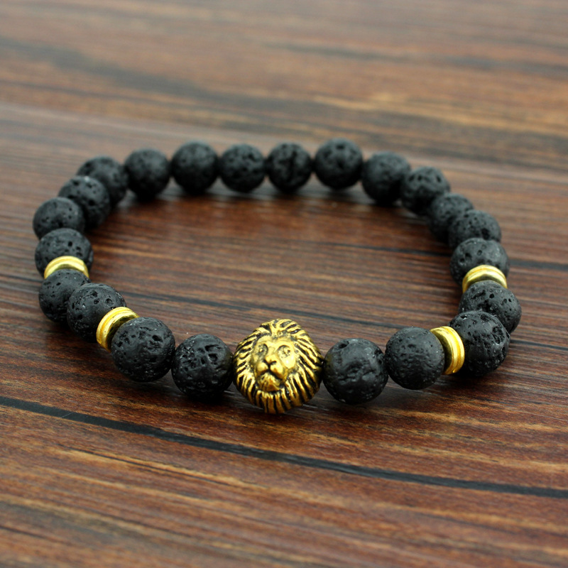 Fashionable agate natural lava stone lion head buddhist beads bracelets
