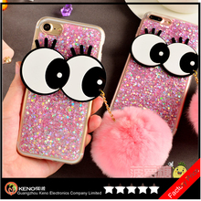 2017 new product Hot selling silicone gel Glitter bling Big eyes Cute 3D Cartoon phone case for iPhone 7 Plus cover fur ball