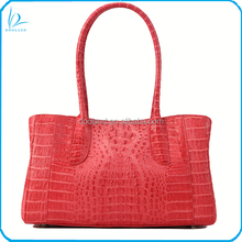 Luxury fashion real caiman hornback skin genuine crocodile leather handbag women