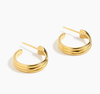 201814k Gold-plated Twisted Hoop Earrings 14K Yellow Gold Tube Earrings