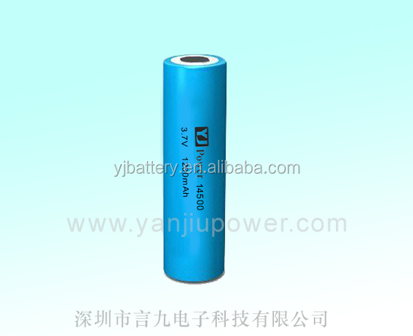 14500 3.7v 1200mah lithium ion battery with rechargeable battery for mini single led lights