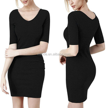 Wholoesale Bulk Boutique Womens Sexy Plus-size Short Sleeve V-neck Cotton Knit Casual Bodycon Dress xxl 2017