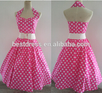 2014 High Quality Haterneck Pink Polka Dots Swing 50's pinup Vintage Jive Rockabilly Fancy Party Dress