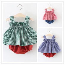 0-3 years New 2017 Wholesale Summer Cotton Girls Plaid Tops + PP Shorts Suit 2pcs Clothing Baby Sets
