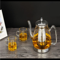 Handmade explosion-proof high temperature thick glass pot of stainless steel filter hot teapot