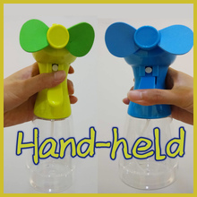 2*AA battery powered portable hand-held water misting hand press mini fan