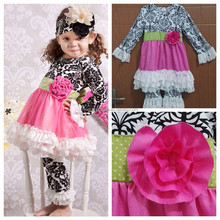 kids flower lace top clothes ruffle outfits girls wholesale boutique clothing
