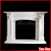 Indoor marble round fireplace