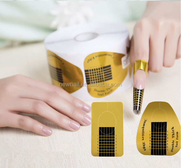 New nails supplies 500pcs golden nail extension form for nail builder