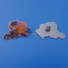 Printing USA / US country flag stainless iron lapel pins The eagle motorcycle