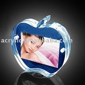 clear acrylic/pmma apple&fruit shape magnetic photo&picture frame