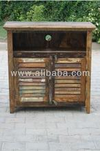 High Quality Recycle wood TV stand 2 door with shutter