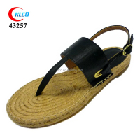 stylish ladies latest model fashion black jute sandal 2016