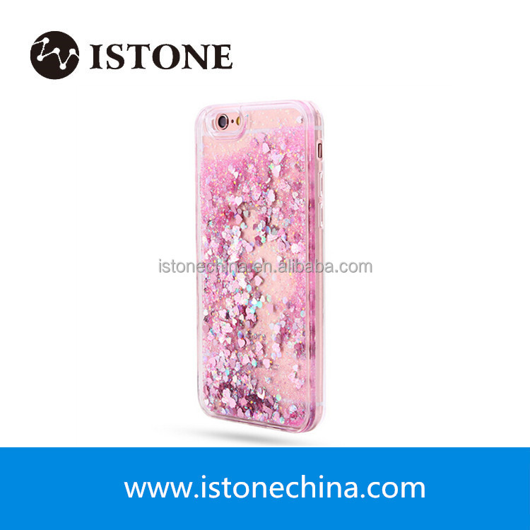 Floating Lover Heart Quicksand Liquid Glitter Case TPU PC Hard Back Cover For iPhone 5 5s