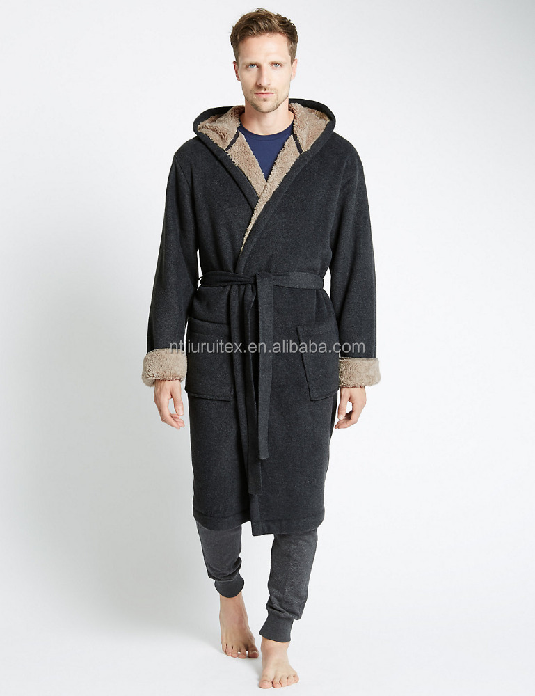Stay Soft Bonded Fleece Dressing Gown,Sherpa Bonded with Polar Fleece bathrobe for men