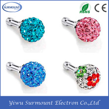 YI WU Factory Wholesale phone 3.5mm earphone ear cap dock dust plug rhinestones Anti Dust Plug