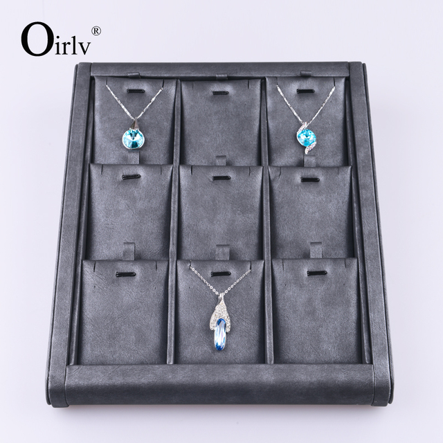 Made in China Custom Logo Leather Ring Jewellery Roll Black Leatherette Jewelry Display Rack Wood Tray for Pendant and Necklace