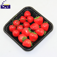 Plastic fruit tray/plastic tray for fruit with high quality/square black plastic tray