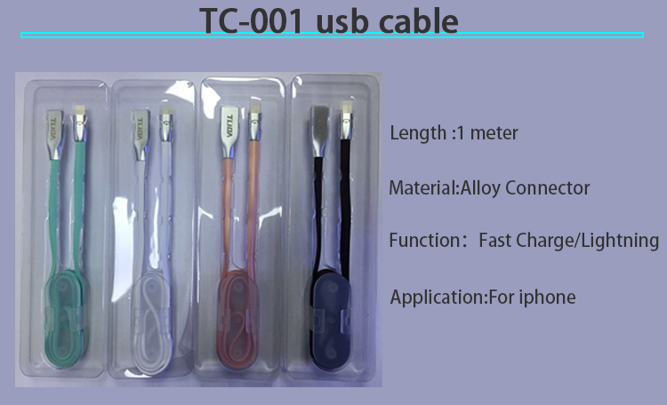 High quality fast charging alloy 8 pin usb data cable for iphone