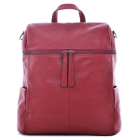 Plain Simple Red Optional Color Medium Size Real Leather Bag Adult Backpack