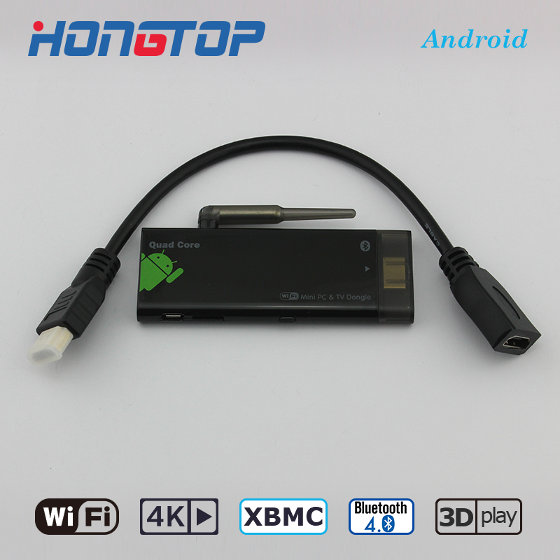 Android Smart TV stick hongtop/OEM Quad Core Android 5.1 BT4.0 4 K 2 + 8g TV dongle CX919 TV stick