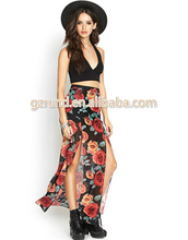 wholesale latest skirt design pictures new arrival long skirt double split floral printing new fashion lady maxi skirt