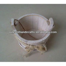 Rope hanging round antique wooden planter with fabric bowknot decoration flower pot