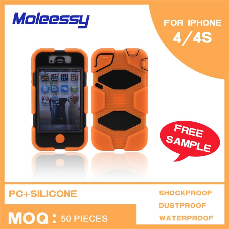High quality Waterproof Shockproof Powerful leather flip open case for iphone 4/4s