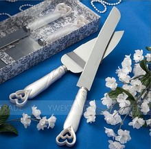 Style Interlocking Hearts Design Cake Knife/Server Set pizza shovel