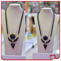 Unisex fashion garment accessories market in guangzhou horn pendant leather necklace cord