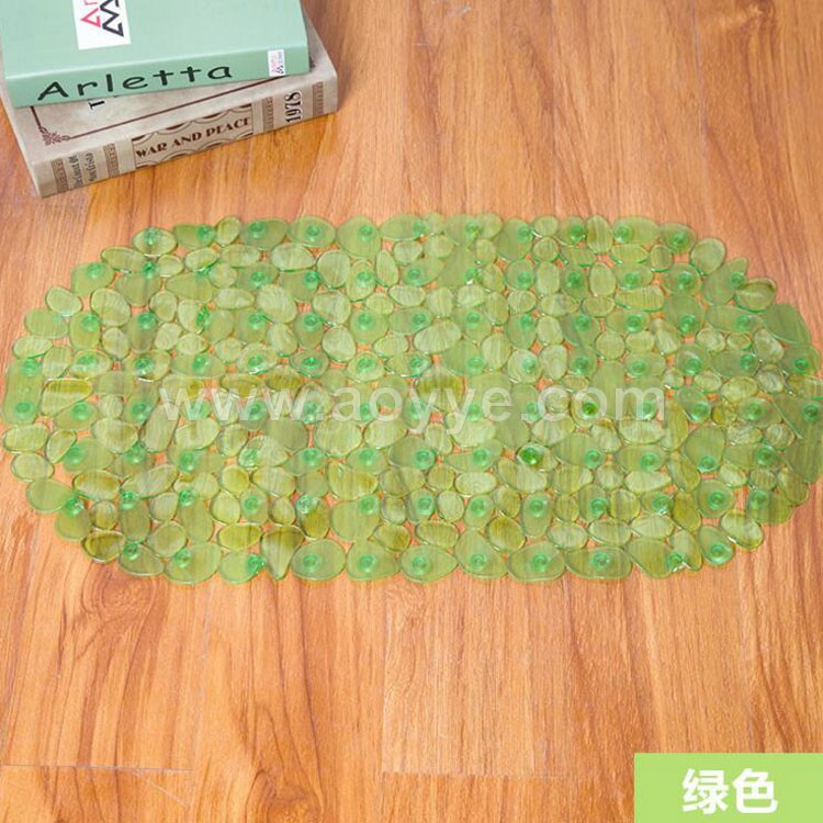 High quality fashion transparent plastic uction cup pebble shape waterproof bathroom floor mat pvc massage non slip bath mat