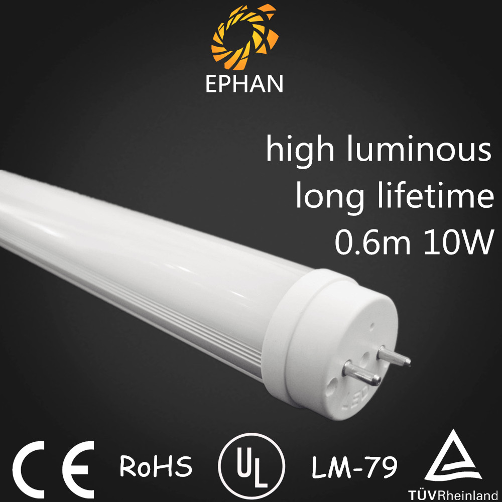 Ephan Factory Price CE/RoHS/UL 2ft/600mm 10W T8 LED Light Tube