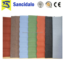 Cheap wood design stone coated steel roof tile shingle competitive in Philippines market