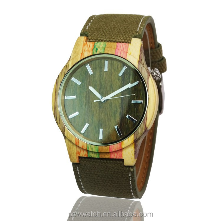 Big dial custom men watch nato canvas strap wood watch logo