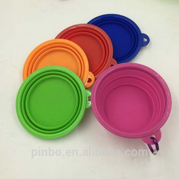Plastic Collapsible Folding Silicone Foldable Pet Bowl with Carabiner Clip