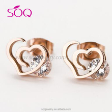Mean divine chaste love heart shape with ablaze jewel womens engage earring