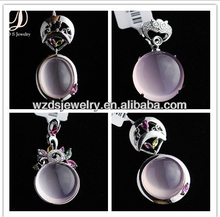 925 Sterling Silver Special Cut-out Pendants Oval Round Violet Chalcedony Cabochon Cubic Zirconia Diamond for Jewelry Necklace