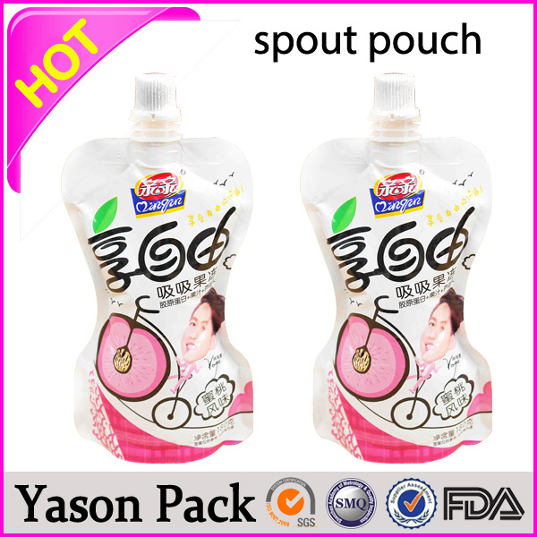 Yason fruit juice packaging plastic spout pouch bag