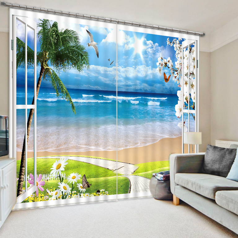 Curtain Latest Luxury Ocean Beach Design 3D Printed Hotel Blackout Ready Made Window Curtain For Living Room