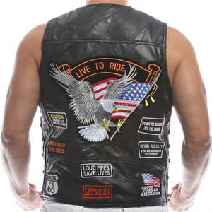Embroidery Leather Vest Waistcoat Halley Motorcycle Riding Punk Hip hop Sheep skin Wind proof warmth retention Men's WoMen's