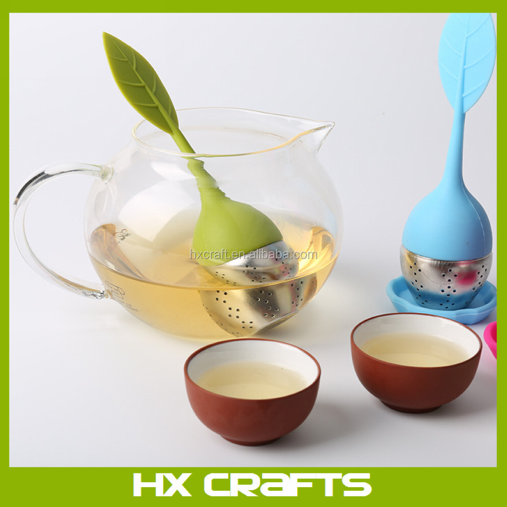 Wholesale silicone loose tea leaf strainer herbal food grade safe stainless steel silicone tea infuser