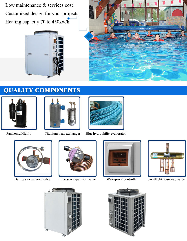 35kw/h swimming pool heat pump rohs for private pool