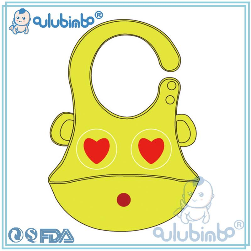 Eco-friendly soft, adjustable silicone baby bib banana