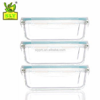 SLYPRC 6 Piece Glassworks Series Oven Safe Rectangular Food Storage Set, 14 oz, Clear/BPA free/ Airtight/dishwasher freezer safe