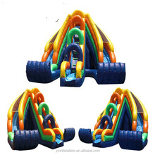 Inflatable curve water slide, curve action dual lane inflatable water slide
